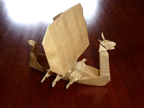 Origami Viking Helmet - 515 viking longship setting the crease