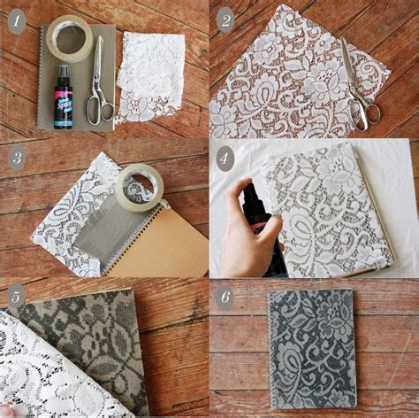 craft lace projects diy lace patterned notebook craft diy