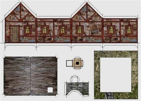 printable diorama buildings old stone hut paper model by papermau download now