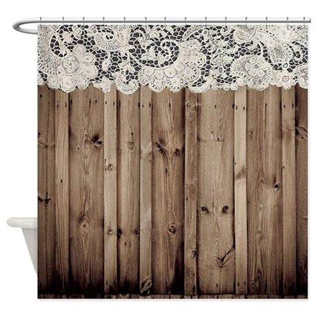 shabby chic lace barn wood shower curtain by listing store
