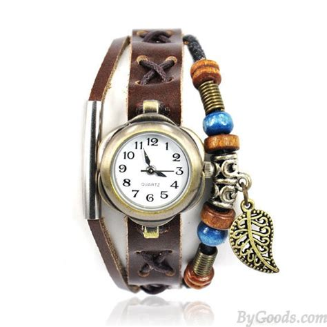 Handmade Leather Watches - handmade leather with leaf pendant bracelet