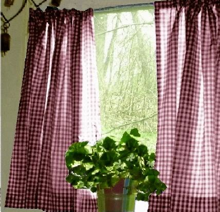 burgundy wine gingham kitchen caf 233 curtain unlined or