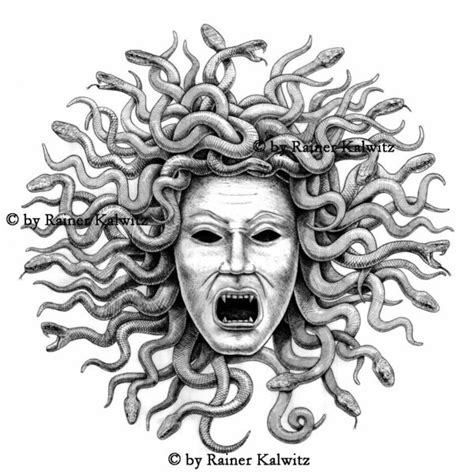 preparatory drawing medusa by rainerkalwitz on deviantart
