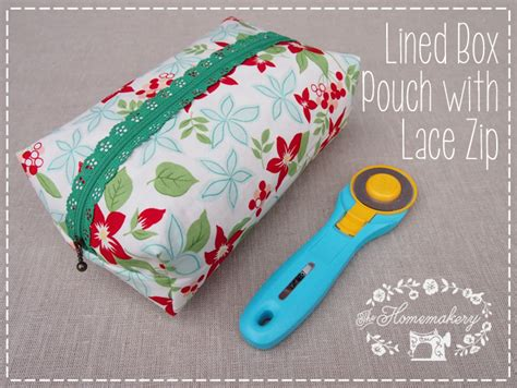 free pattern lined zippered pouch homemakery how to lined box pouch with lace zipper the