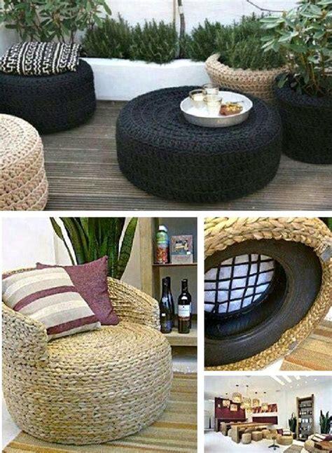 tire rope ottoman super easy diy video tutorial outdoors tire ottoman diy furniture