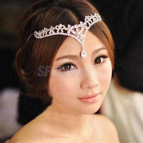 rhinestone flower frontlet forehead band wedding bridal