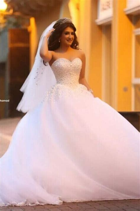 Pure White Sweetheart Princess Ball Gown Wedding Dress