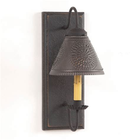 Tin Wall Sconce Wall Sconce Primitive Wood Metal With Punched Tin L Shade Rustic Light Ebay