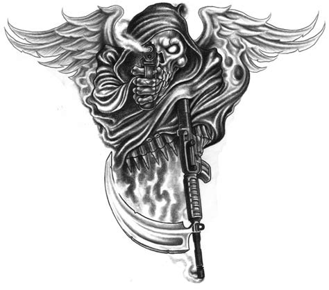 tattoo angel with guns black death warrior with angel wings and guns tattoo