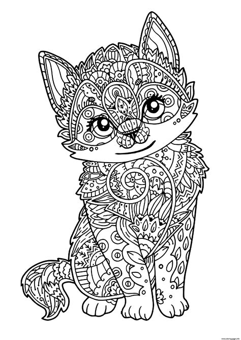 cat zentangle coloring page cute cat adult zentangle coloring pages printable