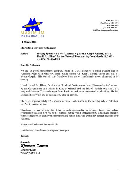 Request Letter Venue hamid ali khan usa tour sponsorship