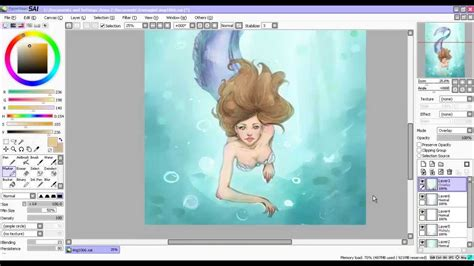 paint tool sai speed drawing speed painting mermaid paint tool sai