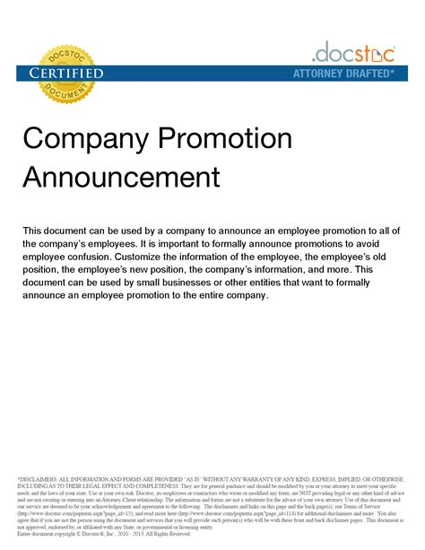 Promotion Announcement Email by Best Photos Of Promotion Announcement Exles Employee Promotion Announcement Letter