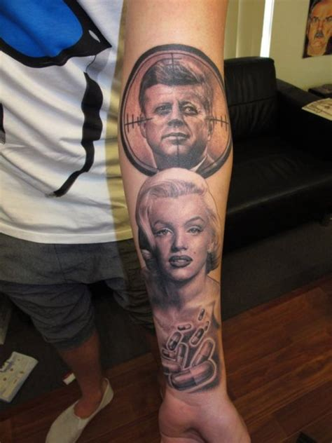 jfk tattoo marilyn and kennedy american president
