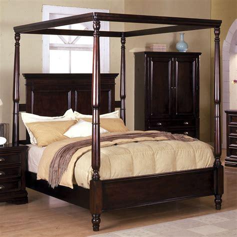 Bedroom exiterra canopy bed with wooden floor exiterra