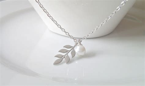 silver foil jewelry silver leaf necklace leaf pearl necklace bridesmaid gifts