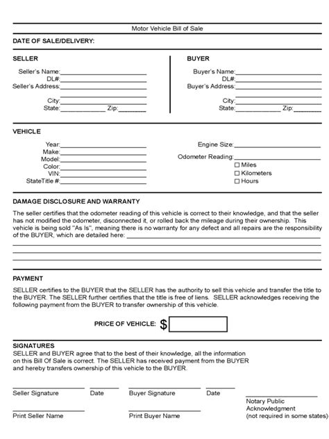 motor vehicle bill of sale template vehicle bill of sale form 86 free templates in pdf word