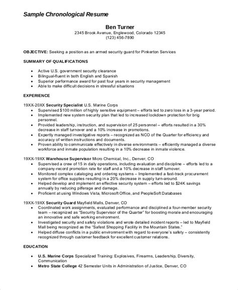 security guard resume 5 free sle exle format