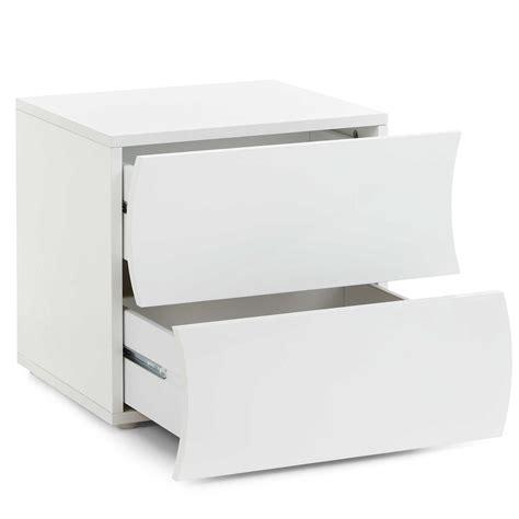 comodino laccato bianco comodino in melaminico 50x40xh42 cm onda laccato bianco
