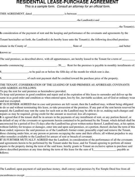 Lease To Buy Agreement Template the residential lease purchase agreement can help you make