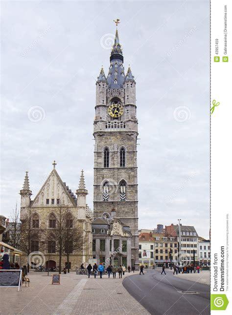 belgium gent  belfry tower stock image image