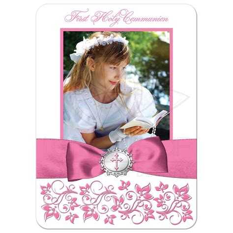 Holy Communion Thank You Cards Template by Holy Communion Photo Thank You Card Flat Pink