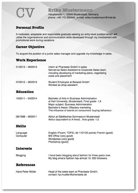 Muster Lebenslauf Englisch Lebenslauf Auf Englisch Tipps F 252 Rs Resume Karrierebibel De