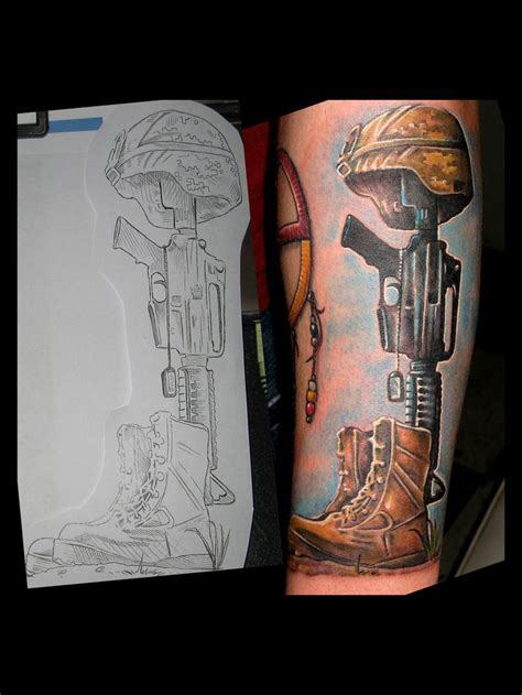 battlefield cross tattoo soldier memorial and drawing i