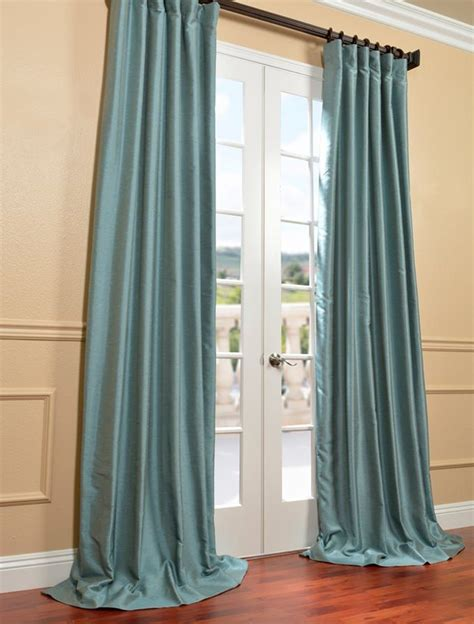 Blue Silk Drapes Blue Agave Yarn Dyed Faux Dupioni Silk Curtain Bedroom