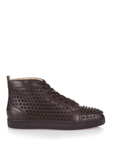 spiked sneakers christian louboutin louis spiked high top sneakers in