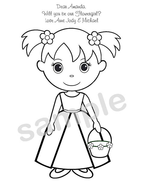 coloring pages flower girl personalized printable flowergirl wedding party by