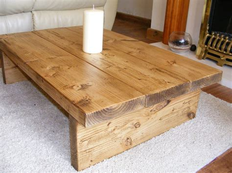 coffee table rustic chunky handmade solid wood solid