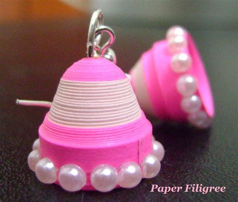 How To Make Paper Jhumkas At Home - pink quilled jhumka paper filigree