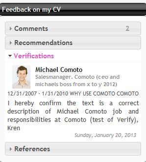 how to use the resume references feature comoto resume