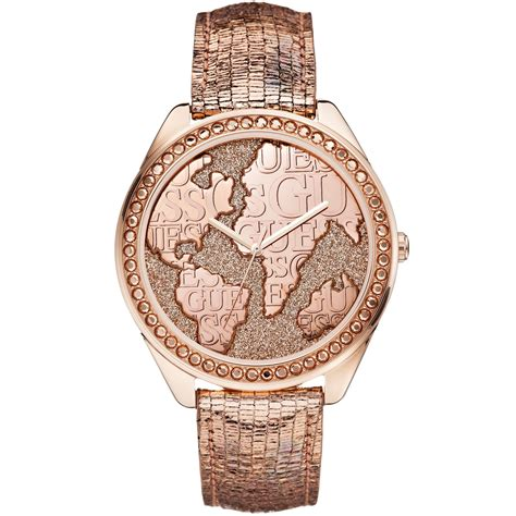Guess Merica Rosegold Limited lyst guess womens gold metallic textured leather 44mm in pink