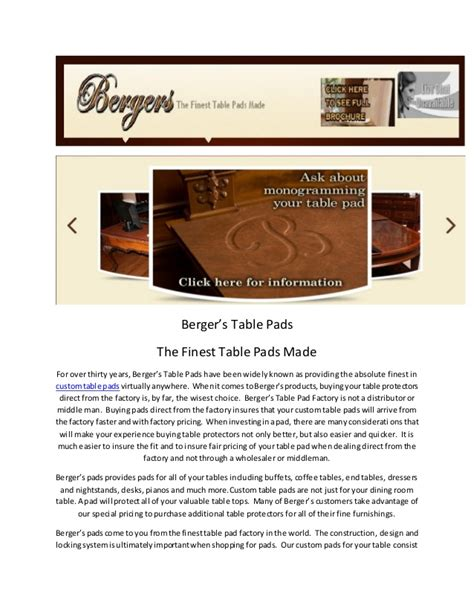 bergers custom table pads table top covers by bergers table pad factory in indiana