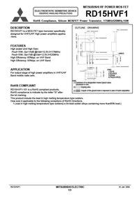 transistor rd15hvf1 datasheet rd15hvf1 mosfet datasheet pdf equivalent cross reference search