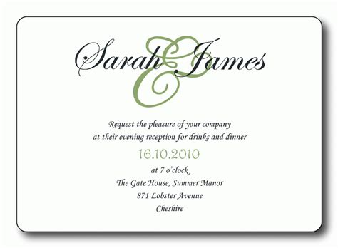 Wedding Invitation Card Reception by Free Wedding Reception Invitation Templates