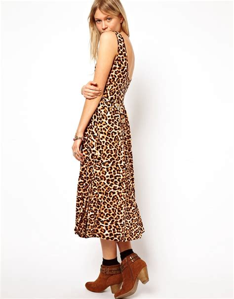 Print Midi Sundress asos asos midi sundress with scoop back in animal print