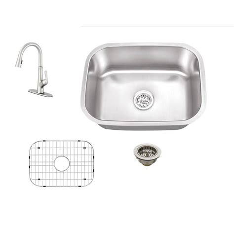 undermount kitchen sink with faucet holes schon all in one undermount stainless steel 22 in 0