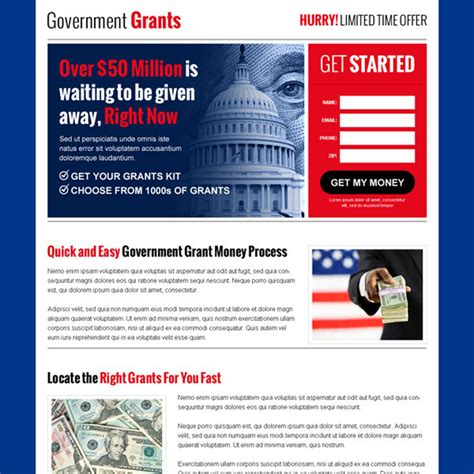 government funding for buying a house government grants landing page design templates for