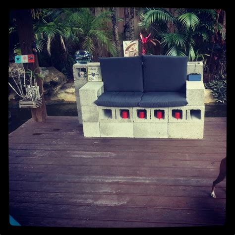 cinder block bench with back arm rests on cinder block bench deck pinterest