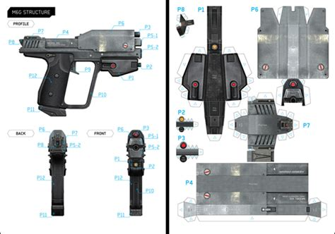 paper craft gun halo m6g template on behance