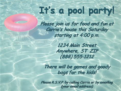 pool invitation template word invitation templates business invitationpany