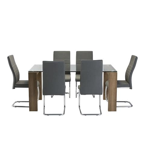 Devan Set devan glass dining table set in clear with 6 grey chairs