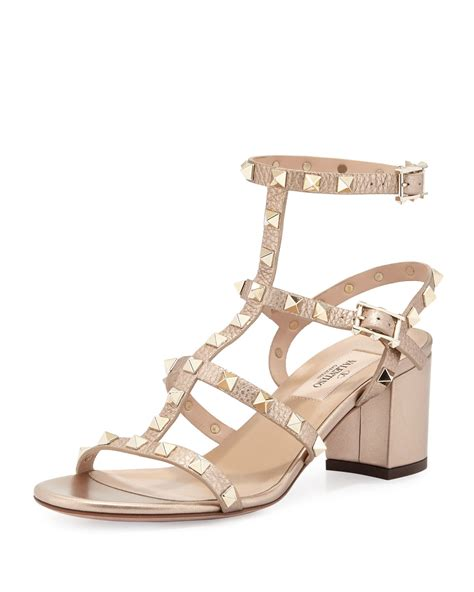 valentino sandals sale valentino rockstud leather sandals in metallic lyst