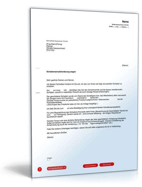 Versicherung F R Englisches Auto by Geltendmachung Schadensersatz Muster Zum Download