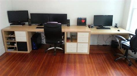 arbeitszimmer ikea expedit wall to wall desk hack with kallax or expedit