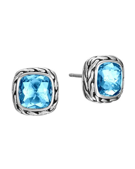 Batu Blue Topaz I231 hardy batu classic chain blue topaz stud earrings in blue silver lyst