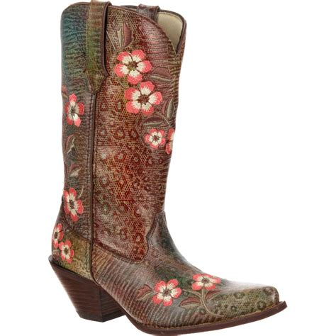 s floral boots crush by durango s flower leopard western boots
